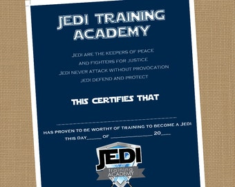Jedi training academy certificate. Printable Certificate. INSTANT DOWNLOAD