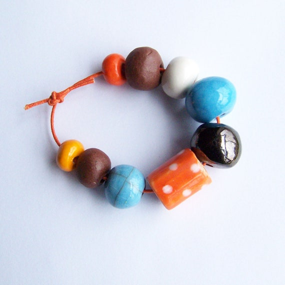 Beads, ceramic bead set, handmade in South Africa