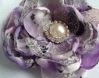 Touch of class lavender and silver flower, purple and silver wedding accessory/photography prop