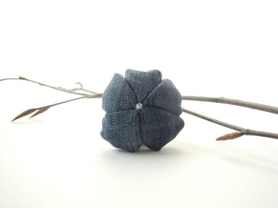Jeans brooch fabric flower - FREE SHIPPING  casual - blue denim