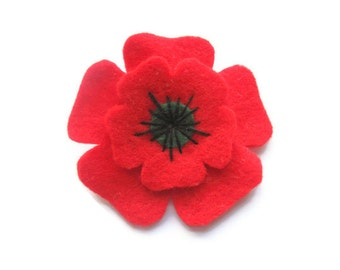 Small Poppy Brooch, Christmas Flower Brooch, Remembrance Day Poppy Appeal Brooch, Felt Flower Pin