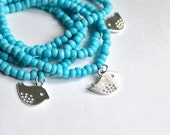 Turquoise beaded bracelets - light blue layered bracelet - bird bracelet - fashion design