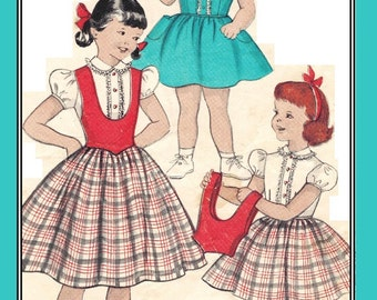 "Butterick 7013 Vintage 50s Retro girls Dress with Fun Scooped ""Poncho"" Vest and Full Skirt Sewing Pattern Size 6"