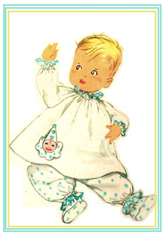 Simplicity 1826 Vintage 50s Adorable Infant Toddler Puff Sleeve Top, Bloomer Pajamas & Booties w/ Transfer Sewing Pattern Size 6 Months B 19