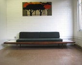 Long Danish Modern Sofa with Floating White End Tables