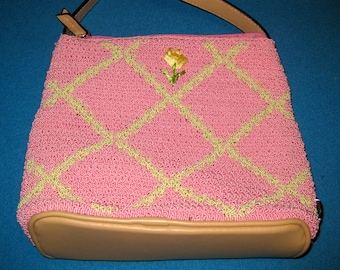 vintage Pink and Green Woven Liz Claiborne Purse with Tan Trim and Strap Made in China