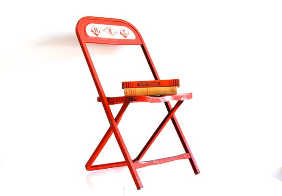 Red Child's School Chair - ABC - industrial metal