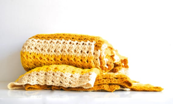 Large Vintage Afghan - Golden yellow and cream - Fall Autumn Decor
