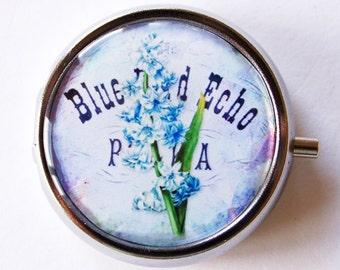 Floral Pill Case, Pill Case, Pill Box, Pill Container, Floral, mint case, flower, blue, purple (1661)