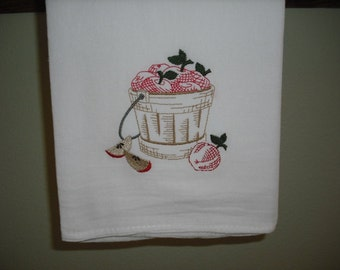Vintage Style Apple Basket Flour Sack Towel. Machine Embroidered.