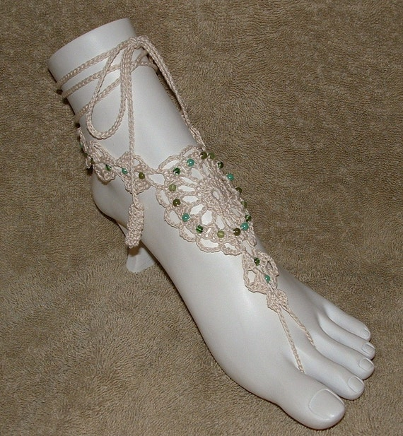 Barefoot Sandals - Natural with Mixed Beads