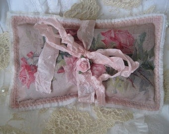 Shabby pink roses, lavender gift sachet, embroidered, Mothers Day gift, friend, sister, vintage catherine klein postcard