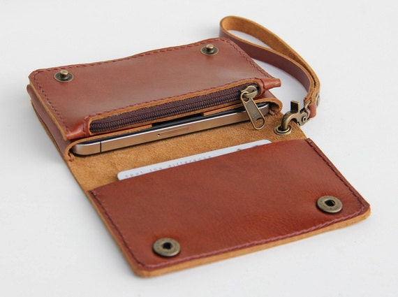 Leather iPhone wallet case with mini zipper in caramel brown (For iPhone4/4s)