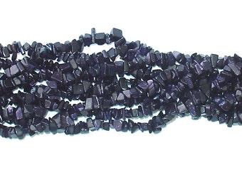 "Blue Gold Stone Chip Gemstone Bead - 34"" Strand"