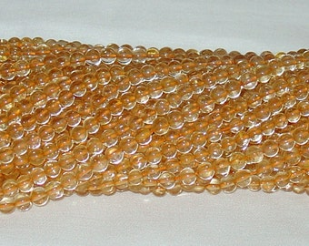 "Citrine 5mm Round Gemstone Beads - 15"" Strand"