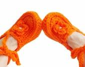 Orange Crochet slippers, Women, wraparound wrist slippers, House shoes, Gift ideas for her, Pompoms house slippers