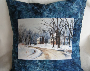 Winter Scene Pillow Cover - OOAK - Handmade By Me