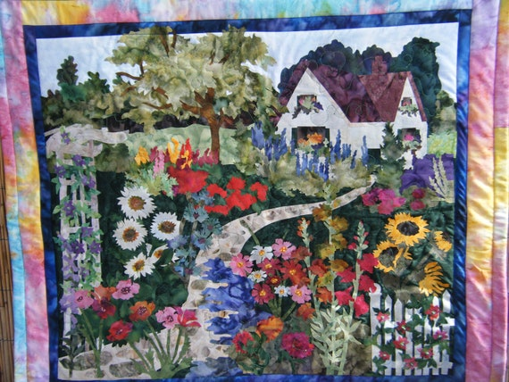 Floral and Cottage - Quilted Wall Hanging