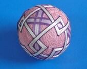 Rattling Temari Ball Ornament Purple and Lavender on Pink