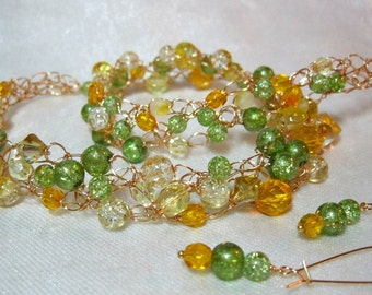 Crocheted Wire Necklace Set in Green and Yellow, handmade beaded jewelry, yellow and green beadwork necklace