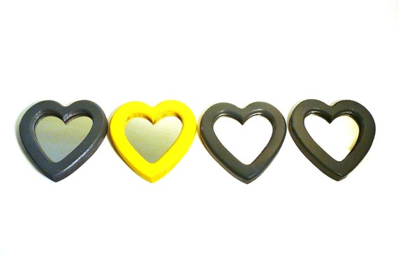 heart mirror set  //  yellow and grey gray, hearts, mirrors, wood, mod home decor, cute, upcycled frames, wall decor