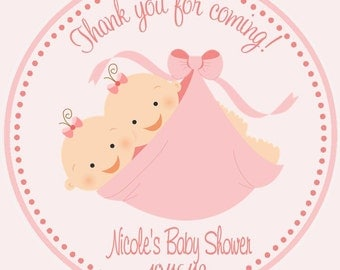 Twin Baby Shower Favor Tags