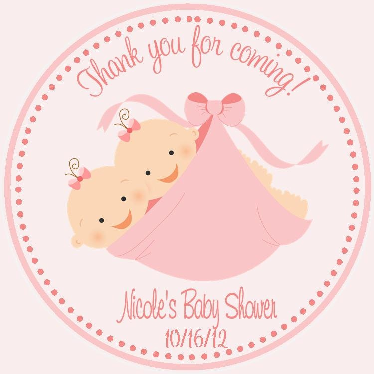 Twin Baby Shower Favor Tags Set of 12 Twin Shower Favors