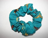 Colorful Southwestern Horses Teal fabric Hair Scrunchie,  women's accessories, equine aztec kokopellis, womans scrunchies, horse lover gifts