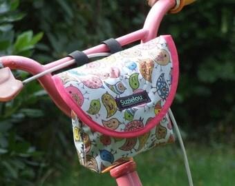 Child's Bird Print Handlebar Bag by Suzielou textiles, scooter bag, bike bag, bike pouch, kids gift