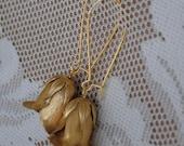 Vintage Romantic Rose Bud Gold Tone Dangle Earrings, Downton Abby
