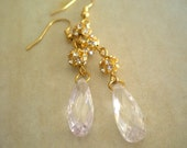 Clear Drop Earrings: Cubic Zirconia, Rhinestone and Gold Filled - Unique Jewelry
