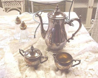 Vintage Silver Teaset 4-pc Cottage Chic French Country