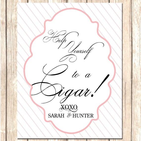 Custom Cigar Bar Sign--Wedding Sign, Elegant Cocktail Sign, DIY Wedding Sign, Printable Wedding Signs, Cocktail Menu, DIY Cigar menu