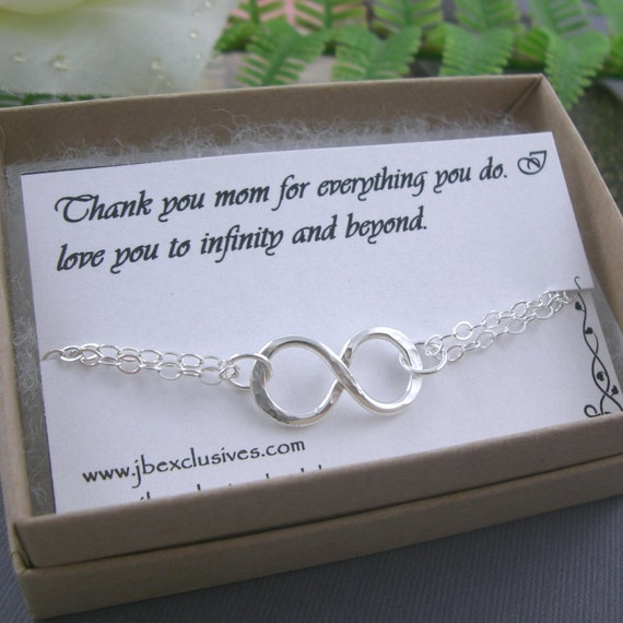 Bridesmaid gift set - wedding jewelry-sterling silver infinity love bracelet-bridal gift for mother of bride, bridesmaid, friend, sister b4