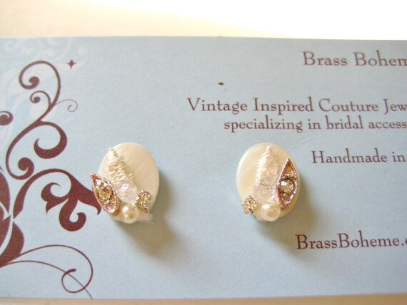 Bridal Simple Statement Studs- Mother of Pearl Wedding Stud Earrings with Swarovski Crystals, Lace, Pearl, and Rhinestones- Classy Vintage