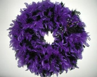 Halloween Wreath, Purple and Black Halloween Feather Wreath, Halloween Wreaths, Halloween Door Decor, Purple Halloween Door Wreath
