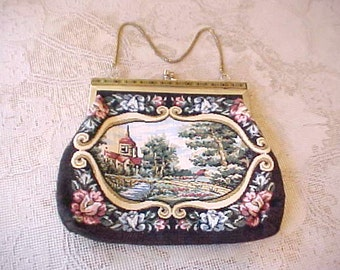 Pretty Little 1970's Faux Tapestry Evening Bag