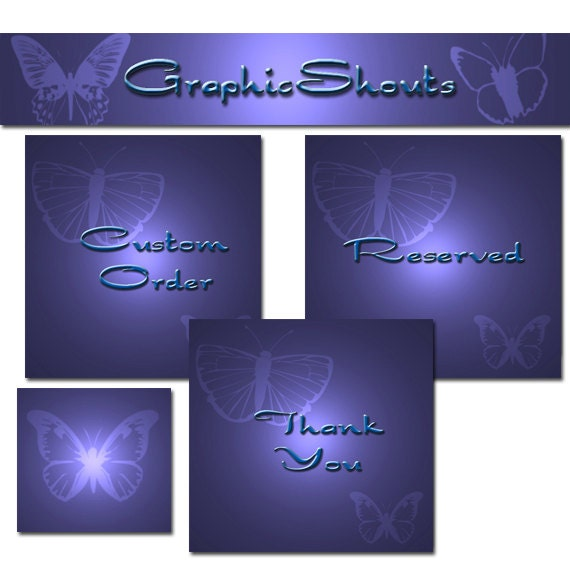 Premade Etsy Shop Set - Banners and Avatars - Deluxe Purple Butterflies cover banner