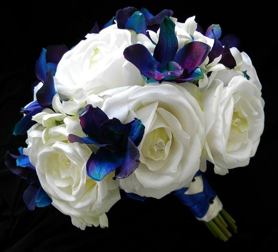 Items similar to Silk Garden Rose and Blue/Violet Orchid ...