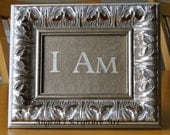 Framed Bible Verse, I Am, Gold Table Top Frame, Scripture Art