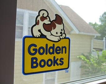 Pokey Little Puppy - PAIR Vintage UNUSED Golden Books Clear Window Cling Wall Art Decal Stickers