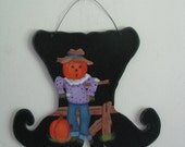 Witch's Boot with a Scarecrow, Pumpkins, Fence, Wall/Door decor