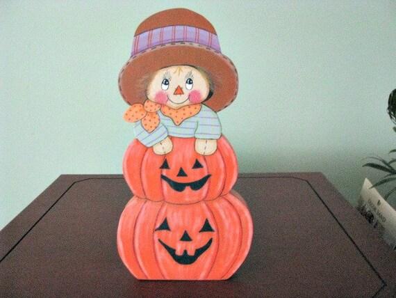 scarecrow, pumpkin, fall, halloween, handpainted