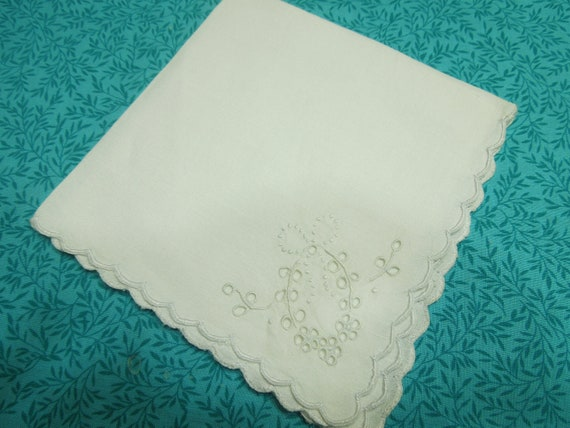 Vintage linen Handkerchief Hanky with a open work design embroidered in one corner by MarlenesAttic