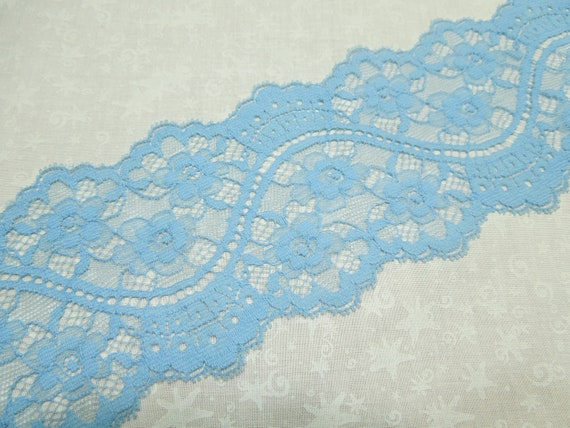 1 yard, 16 inches of 3 1/2 inch light blue galloon chantilly lace trim for bridal, baby, lingerie by MarlenesAttic - Item OT