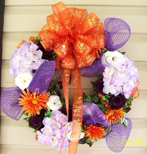 Front Door Flower Wreath in Clemson's Colors  with Large Bow