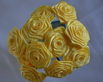 Set of Twelve Yellow Satin Bridal Flowers