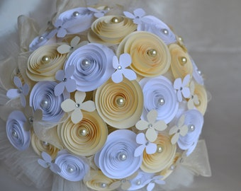 Wedding Paper Bouquet - White/ light yellow with Pearls