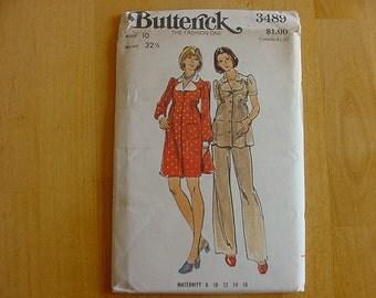 1970s Butterick Pattern 3489 Misses Loose Fitting, Maternity Dress, Top, Pants, Size 10  Bust 32 1/2  Uncut