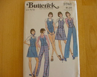 1970s Butterick Pattern 3761 Junior Vest, Skirt, Pants & Shorts, Junior Size 9/10, Bust 30 1/2 UNCUT